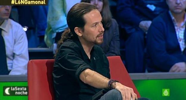 Líder de Podemos en una de sus muchas asistencias a la Sexta noche.