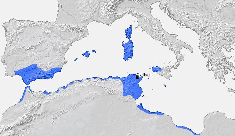 Territorios de la república  cartaginesa hacia 270 a.C.